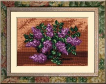 Lilacs In A Basket - Counted Cross Stitch Kit with Color Symbolic Scheme