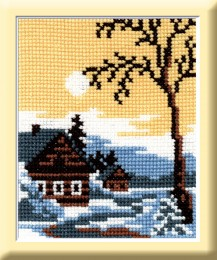 March - Stamped Cross Stitch Kit with Water Soluble Color Scheme