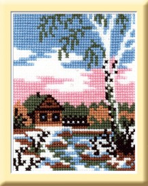 April - Counted Cross Stitch Kit with Color Symbolic Scheme