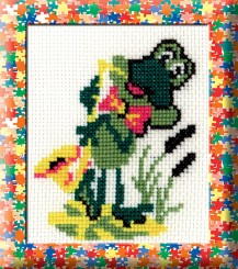 A Frog With A Saxophone - Counted Cross Stitch Kit with Color Symbolic Scheme