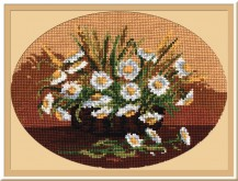 Daisies In A Basket - Counted Cross Stitch Kit with Color Symbolic Scheme