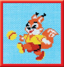 Squirrel With A Ball - Counted Cross Stitch Kit with Color Symbolic Scheme