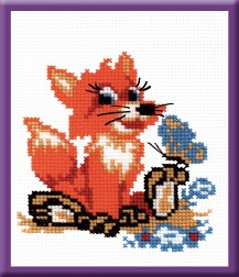 Fox Cub - Stamped Cross Stitch Kit with Water Soluble Color Scheme