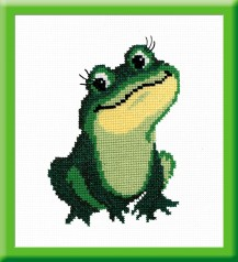 Frog - Counted Cross Stitch Kit with Color Symbolic Scheme