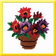 A Pot Of Flowers - Counted Cross Stitch Kit with Color Symbolic Scheme