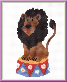 Lion On A Pedestal - Counted Cross Stitch Kit with Color Symbolic Scheme