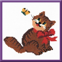 Red Cat - Counted Cross Stitch Kit with Color Symbolic Scheme