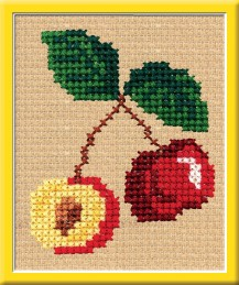 Cherries - Counted Cross Stitch Kit with Color Symbolic Scheme