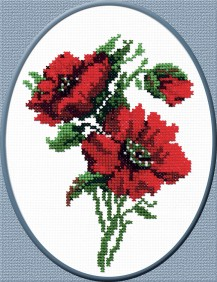 Red Flowers - Counted Cross Stitch Kit with Color Symbolic Scheme