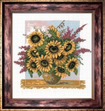 Bouquet Of Sunflowers - Counted Cross Stitch Kit with Color Symbolic Scheme