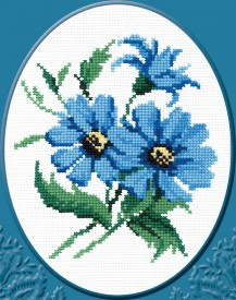 Blue Flowers - Stamped Cross Stitch Kit with Water Soluble Color Scheme