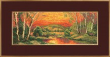 Sunset - Counted Cross Stitch Kit with Color Symbolic Scheme