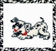 Dalmatian - Stamped Cross Stitch Kit with Water Soluble Color Scheme