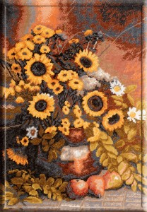 Still Life With Sunflowers - Counted Cross Stitch Kit with Color Symbolic Scheme