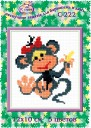 Monkey With A Banana - Counted Cross Stitch Kit with Color Symbolic Scheme