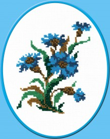 Cornflower - Counted Cross Stitch Kit with Color Symbolic Scheme