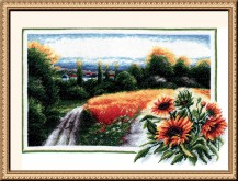 Landscape With Sunflowers - Counted Cross Stitch Kit with Color Symbolic Scheme
