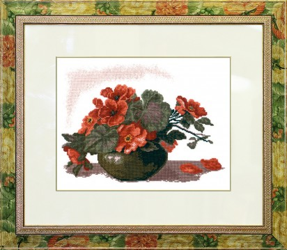 Azaleas - Counted Cross Stitch Kit with Color Symbolic Scheme