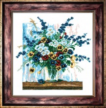 Pansies In A Glass - Counted Cross Stitch Kit with Color Symbolic Scheme