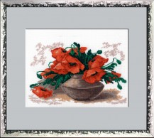 Poppies - Counted Cross Stitch Kit with Color Symbolic Scheme