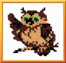 Owl - Counted Cross Stitch Kit with Color Symbolic Scheme