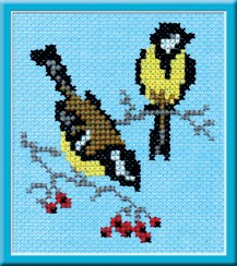Tit - Counted Cross Stitch Kit with Color Symbolic Scheme
