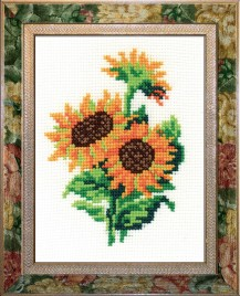 Sunflower - Stamped Cross Stitch Kit with Water Soluble Color Scheme