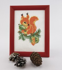Squirrel With A Strobila - Counted Cross Stitch Kit with Color Symbolic Scheme