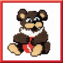 Teddy Bear - Counted Cross Stitch Kit with Color Symbolic Scheme