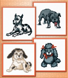 Gray Dogs - Counted Cross Stitch Kit with Color Symbolic Scheme