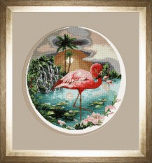 Flamingo - Counted Cross Stitch Kit with Color Symbolic Scheme