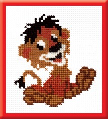 Lionet - Counted Cross Stitch Kit with Color Symbolic Scheme