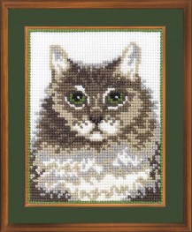 Siberian Cat - Counted Cross Stitch Kit with Color Symbolic Scheme