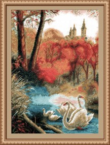 Landscape With Swans - Counted Cross Stitch Kit with Color Symbolic Scheme