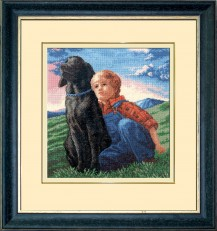 Boy With A Dog - Counted Cross Stitch Kit with Color Symbolic Scheme