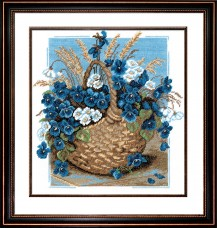 Violets In Basket - Counted Cross Stitch Kit with Color Symbolic Scheme