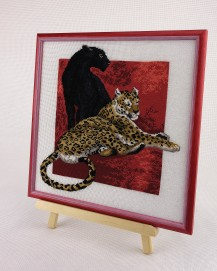 Panther With Leopard - Counted Cross Stitch Kit with Color Symbolic Scheme