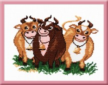 Three Bulls - Counted Cross Stitch Kit with Color Symbolic Scheme