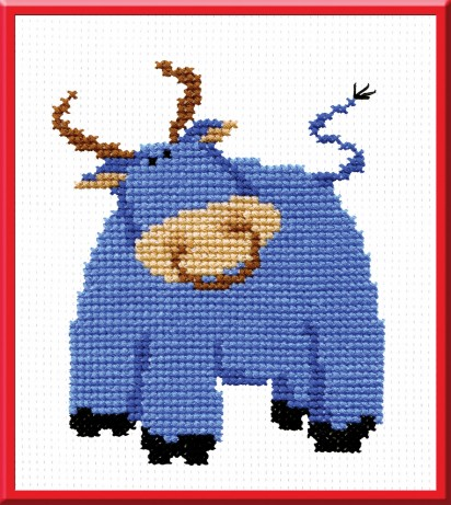 Bull - Counted Cross Stitch Kit with Color Symbolic Scheme