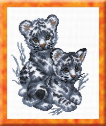 White Tiger Cubs - Counted Cross Stitch Kit with Color Symbolic Scheme
