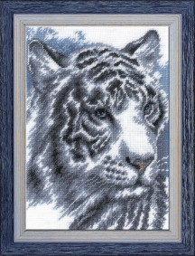 White Tiger - Counted Cross Stitch Kit with Color Symbolic Scheme