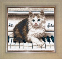 Cat On Piano - Counted Cross Stitch Kit with Color Symbolic Scheme