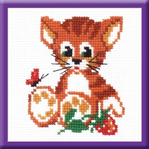 Kitten With Berry - Counted Cross Stitch Kit with Color Symbolic Scheme