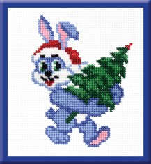 Bunny With Fir-tree - Counted Cross Stitch Kit with Color Symbolic Scheme