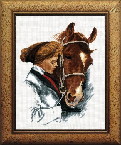 Girl With A Horse - Counted Cross Stitch Kit with Color Symbolic Scheme