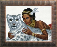 Girl And Leopard - Counted Cross Stitch Kit with Color Symbolic Scheme