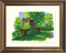 Country Landscape - Counted Cross Stitch Kit with Color Symbolic Scheme