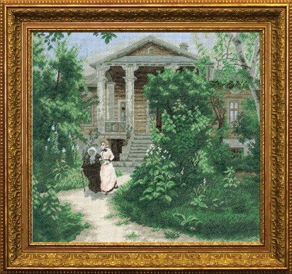 Grandmother's Garden (vasily Polenov 1878) - Counted Cross Stitch Kit with Color Symbolic Scheme
