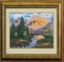 Mountain Landscape - Counted Cross Stitch Kit with Color Symbolic Scheme