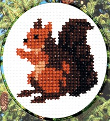 Squirrel - Counted Cross Stitch Kit with Color Symbolic Scheme